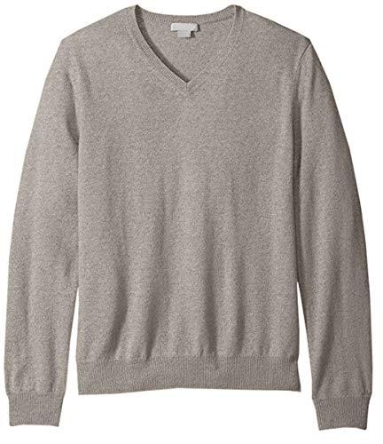Men's Solid Plain Long Sleeve Pullover V Neck Cashmere Sweater, Camel, Tag L = US M/38