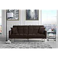 Modern Plush Tufted Velvet Splitback Living Room Futon (Brown)