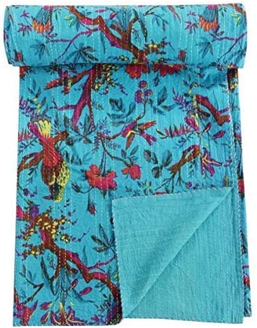 Bird Print Twin Size Kantha Quilt Orange Kantha Blanket Bohemian Bedding Kantha Size 60 Inch x 90 Inch Bed Cover Twin Kantha bedspread