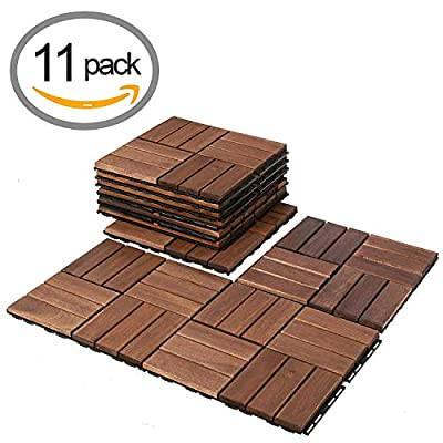 Composite Decking Flooring and Deck Tiles | Acacia Wood | Suitable for Indoor and Outdoor Applications | Check Pattern | 12x12 inches - Pack of 11 Tiles
