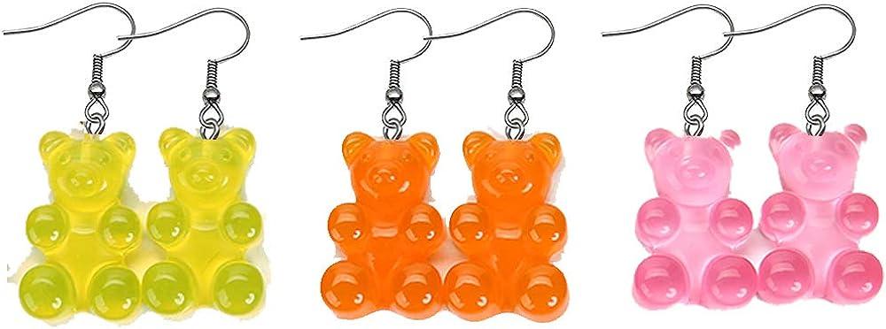 RUIZHEN 3 Pairs Set Creative Cute Mini Gummy Bear Dangle Earrings Cartoon Animal Earrings