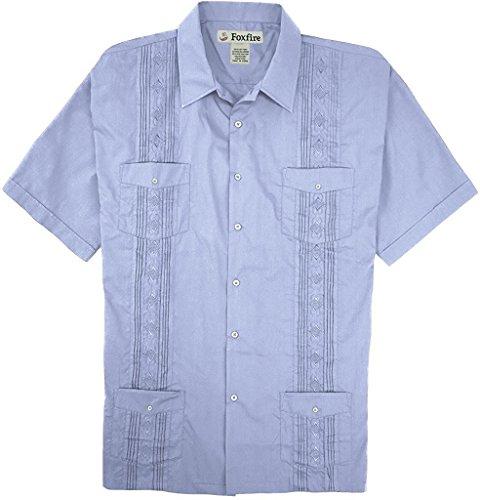 Foxfire Short Sleeve Embroidered Guayabera Shirt, Lt Blue, Large