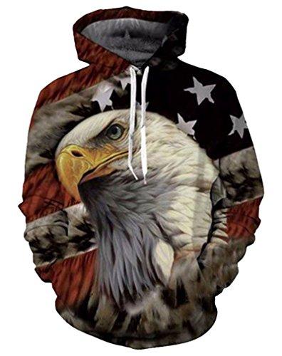 Your Love Eagle American Flag Hoodie Pullover Hooded Sweats Tops Hip Hop Sweatshirt Outerwear Hoody ()