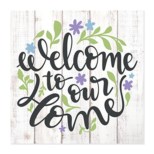 MRC Wood Products Welcome To Our Home Floral Wreath Wood Wall Sign 12x12