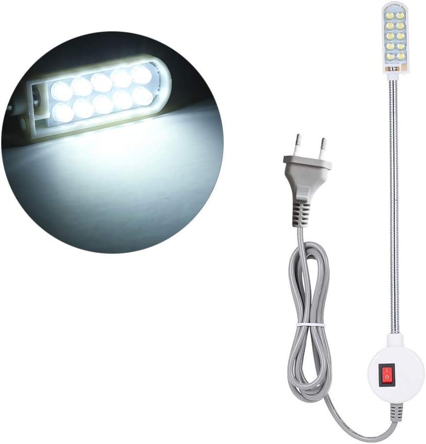 Lilideni AC110-265v 0.5w 10 LED EU Plug Máquina de Coser Lámpara de luz Magnético Base Fija Interruptor Botón Flexible Flexible Cuello de Cisne Iluminación Ajustable Diseño de ángulo portátil para ta
