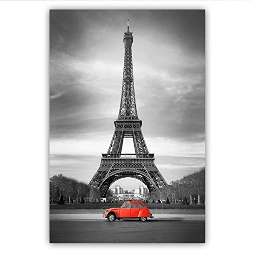 Studio 500, Museum Canvas Wall Art - The Eiffel Tower with a Red Car in Black & White, Cityscapes Collection, 32'' x 48'' High Resolution Giclee Printing w/Silver Prepress Finishing, E0092 by Studio 500 Inc.