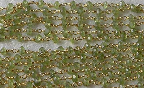 (3 Feet Peridot Rosary Chain Sold by The Foot Faceted Gemstone Beads Gold Vermeil Chain 3.5mm Semiprecious Bead Green Peridot Jewelry Supply by LadoNarayani)