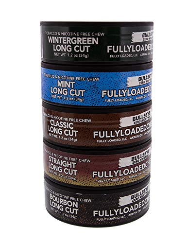 Fully Loaded Chew Tobacco and Nicotine Free Sampler Pack Bullseye Long Cut 5 Varieties of Flavor, Chewing Alternative, Beer Cozy Included