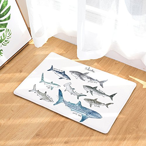LANGUGU Home Garden Non-Skid / Slip Rubber Back Kitchen Mat Bath Rug Entrance Mat Animal Whale Deer Owl Dinosaur Rabbit Tiger Shark Whale Sloth Machine Washable Indoor Outdoor Hallway Carpet by LANGUGU (Image #2)