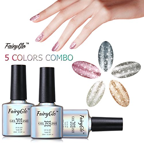 FairyGlo 5 Colour Combo Platinum Gel Nail Polish UV LED Soak Off Manicure Nail Art Gift Set Exclusive Beauty Wearing Collection New Series Base Top 10ml C58001