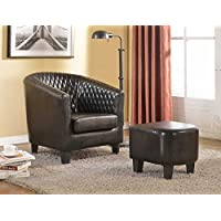 Container Furniture Direct Isabella Collection 2 Piece Traditional Faux Leather Lounge Chair Ottoman/Footrest Set, Black