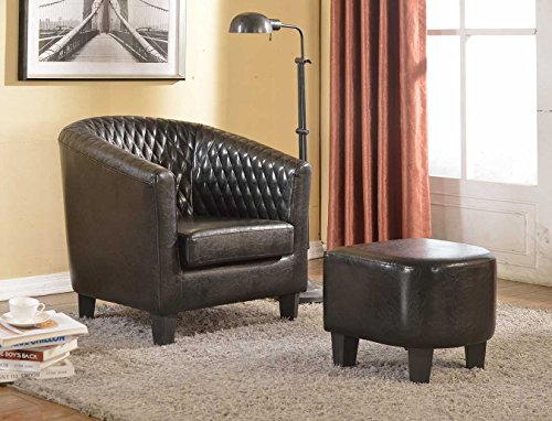 Isabella Chair - Container Furniture Direct Isabella Collection 2 Piece Traditional Faux Leather Lounge Chair and Ottoman/Footrest Set, Black