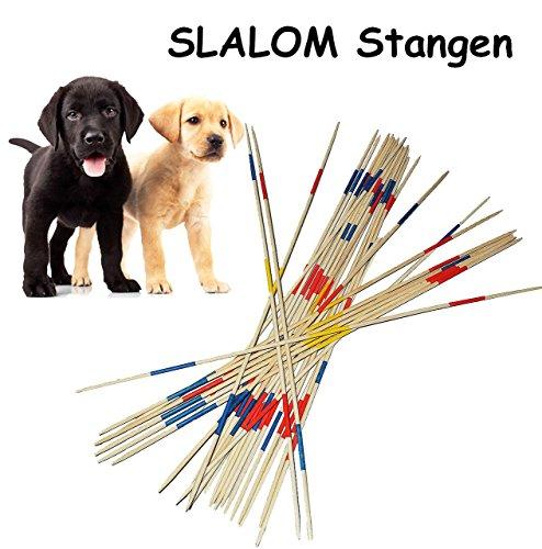 XXL Stäbe aus Holz - 91 cm lang - ideal auch für Hunde als Slalomstange / Hürde - Mikado - für Draußen und Drinnen - Gartenset / Hürde - Spiele groß Riesen Mikadospiel Gartenspiel Kindergeburtstag für den Garten - Hundetraining