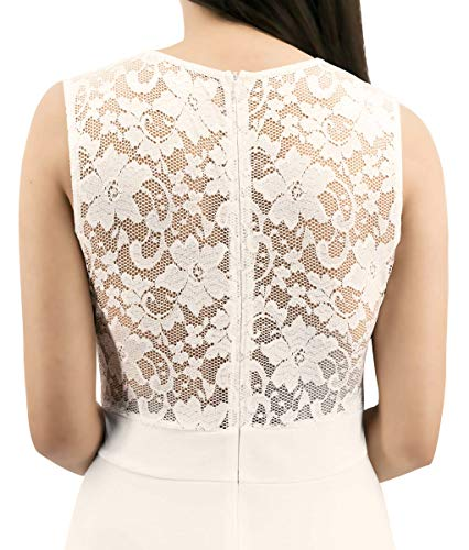 Sylvestidoso Women's A-Line Sleeveless Pleated Little White Cocktail Party Dress with Lace Back (XL, White)