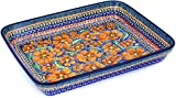 Polish Pottery Rectangular Baker 13-inch Poppies UNIKAT
