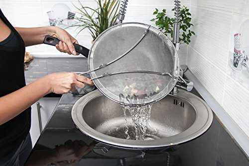 """13"""" Grease Splatter Screen + Silicone Glove. High Density Stainless Steel Mesh. Perfect Splatter Guard Fit For All Frying Pans, Skillets. Protects Your Hands And Kitchen. No More Oil Spils."""