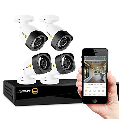 Defender HD 1080p 4 Channel 1TB DVR Security Surveillance System and 4 Long Range Night Vision HD Bullet Cameras with Mobile Viewing and Motion Detection Notifications Four Channel Dvr