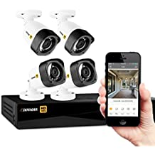 Defender HD 1080p 4 Channel 1TB DVR Security Surveillance System and 4 Long Range Night Vision HD Bullet Cameras with Mobile Viewing and Motion Detection Notifications