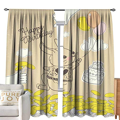 Light luxury high-end curtains Hand drawn rabbit with colorful balloons on floral meadow Can be used for baby shower celebration greeting card happy birthday and invitation card baby t-shirt fashion p