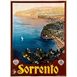 Sorrento Italian Coast Bay of Naples Italy Italian Europe Vintage European Travel Advertisment Art Poster Print. Poster measures 10 x 13.5 inches