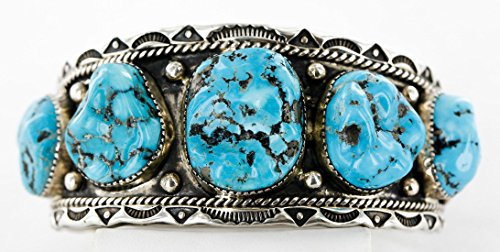 Collectable Large Handmade Certified Authentic Navajo .925 Sterling Silver Natural Turquoise Signed Native American Cuff ()
