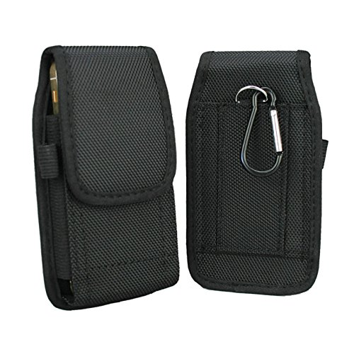 - aubaddy Vertical Nylon Pouch Holster with Belt Loop for iPhone 5 / 5S / 5C / SE - Fit with a Thin Case (Black)