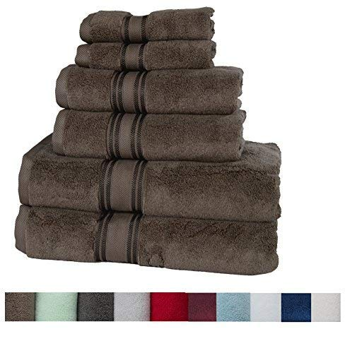 Casa Lino Quick Dry Super Zero Twist 6 Piece Bath Towel Set 7 Star Hotel Luxury Collection, 2 Bath Towel 28x54, 2 Hand Towel- 16x28, Face Towel- 13x13 (Chocolate)