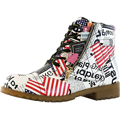 DailyShoes Women's Military Combat Boots Quilted Lace Up Buckle Ankle High Exclusive Credit Card Pocket, USA Flag PU, 8.5 B(M) ()