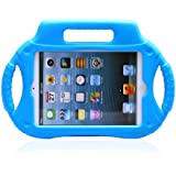 Kool(TM) Blue New iPad Mini Multi Function Kids Childproof Shockproof Cover Case with Stand/Handle for Apple iPad Mini Tablet Wheel Shockproof Design (Blue)