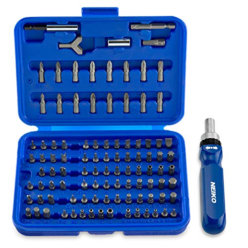 Neiko 10082A Security Bit Set with Ratcheting Screwdriver, Chrome Vanadium Steel | 101-Piece Set ()