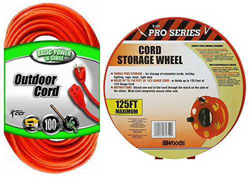 - Coleman Cable Bundle - 100 ft - Outdoor Heavey Duty Extension Cord Plus Wind up Reel