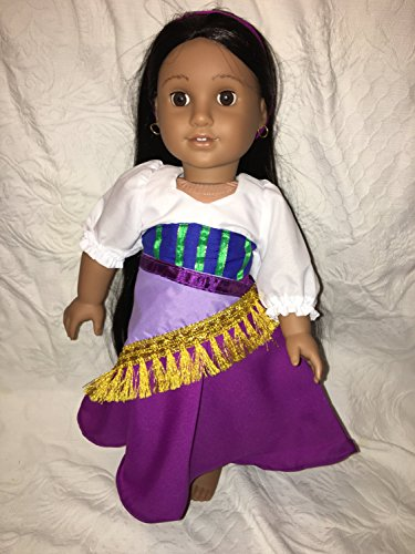 Fits American 18 inch Girl Doll Clothes Esmeralda Fortune Teller Gypsy Inspired DOll Clothes Dress Wrap Headband Lot of 3 pieces Handmade NO DOLL
