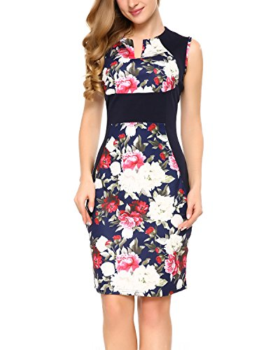 Mixfeer Women's Deep V Neck Sleeveless Floral Print Cocktail Party Pencil Dress
