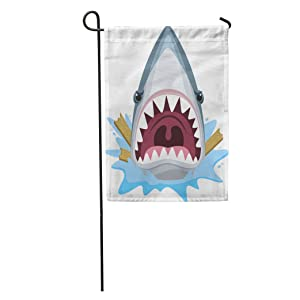 "Semtomn Seasonal Garden Flags 28"" x 40"" White Mouth Shark Attack Open Full of Teeth Outdoor Decorative House Yard Flag"