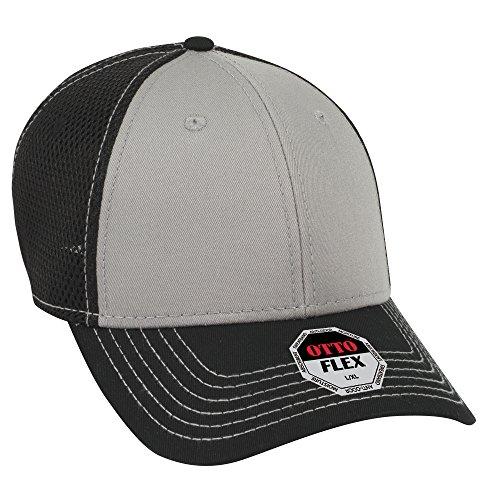 OTTO Flex Cotton Twill Air Mesh Back 6 Panel Low Profile Baseball Cap - Blk/Gry/Blk ()