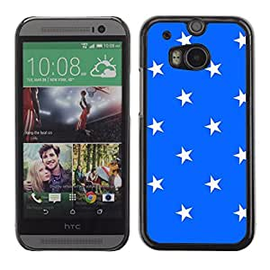 Graphic4You Stars Pattern Design Hard Case Cover for HTC One (M8) (Royal Blue)