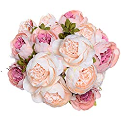 2 Pack Artificial Peony Wedding Flower Bush Bouquet - Artiflr Vintage Peony Silk Flowers for Home Kitchen Wreath Wedding Centerpiece Decor, Light Pink