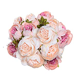 Artiflr 2 Pack Artificial Peony Wedding Flower Bush Bouquet Vintage Peony Silk Flowers for Home Kitchen Wreath Wedding Centerpiece Decor,Light Pink 104