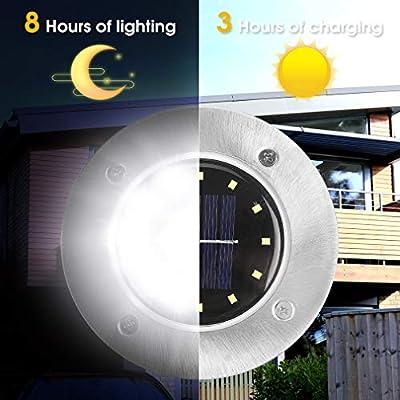Rishayh Solar Ground Lights, 12 LED Garden Pathway Outdoor Waterproof In-Ground Lights, 4 Pack (White)
