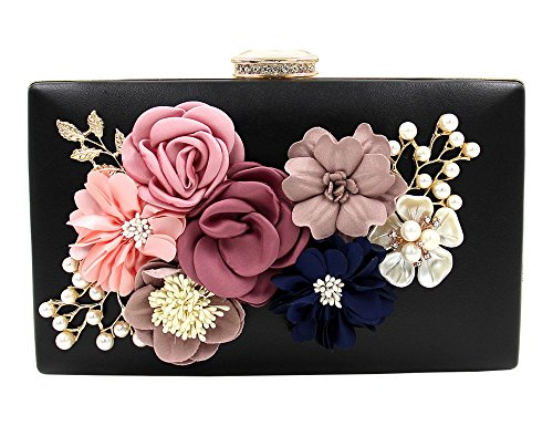 Womens Satin Flower Stud Evening Clutch Pearl Beaded PU Leather Formal Party Prom Handbag(Black)