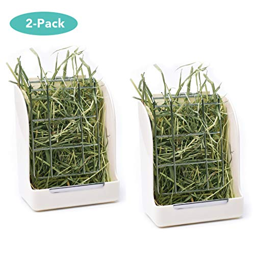 CalPalmy (Upgraded 2-Pack) Hay Feeder/Rack - Ideal for Rabbit/Chinchilla/Guinea Pig - Keeps Grass Clean & Fresh/Non-Toxic, BPA Free Plastic/Minimizing - Ceramic Pig Guinea