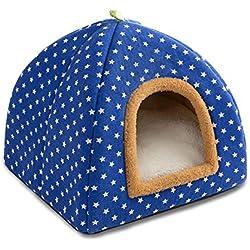 Pet Yurt Cave Nest Adecuado para Perros pequeños/Gatos, Carpa para Gatos/Cama para Gatos - Pelusa + Lona de Alta Calidad - S: 33 * 33 * 30 cm,Blue,S