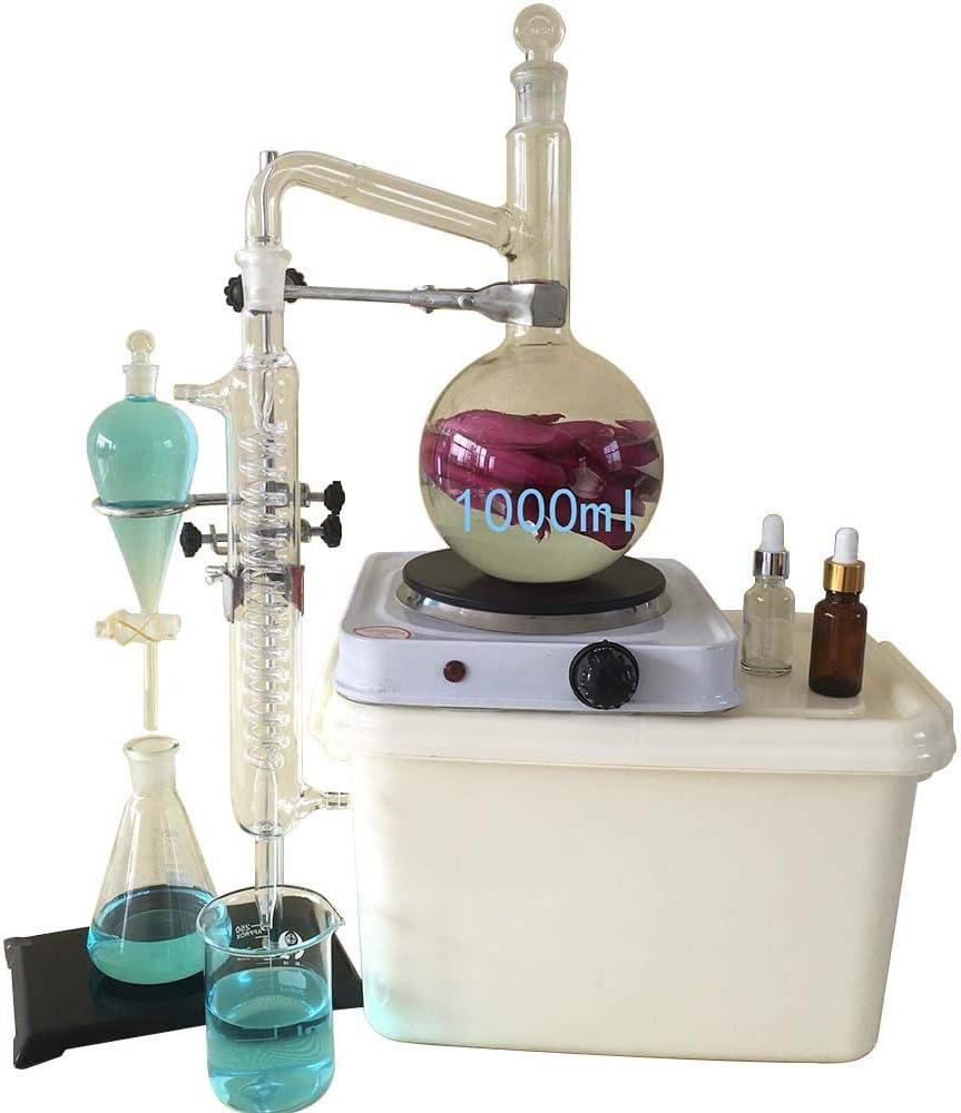 1000ml実験用ガラス器具キット、純水用エッセンシャルオイル蒸留器、コンデンサーパイプフラスコおよびヒーター付き