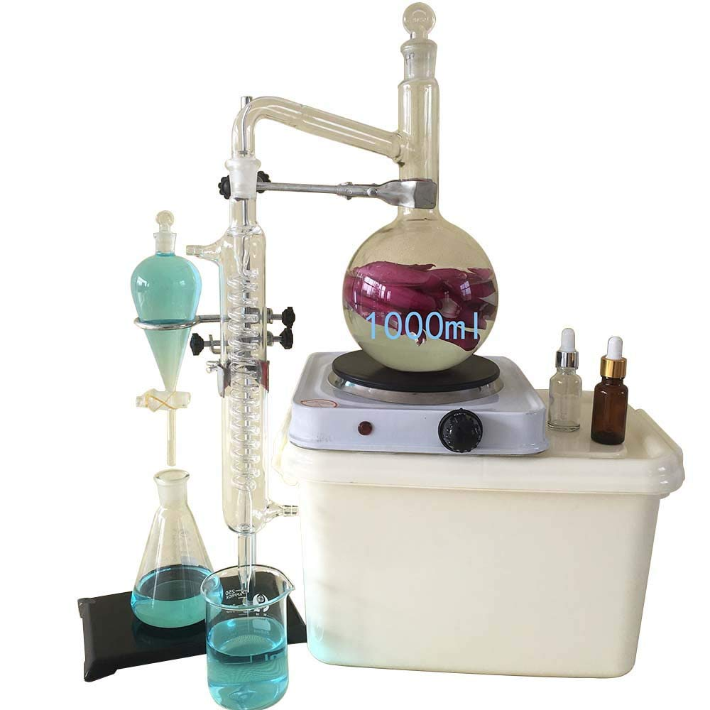 AnEssOil 1000ML Lab Glassware Kit,Moonshine Still,Essential Oil Still Distiller for Pure Water, with Condens