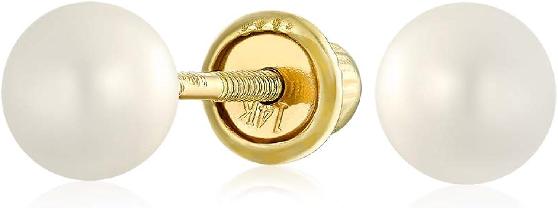 Minimalista Diminutos Real Oro 14K Blanco Aqua Fresca Culturada Perla Pendiente De Boton Para Mujer Adolescente