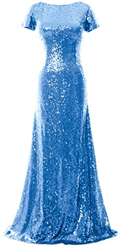 MACloth Mermaid Cap Sleeve Sequin Long Bridesmaid Dress Formal Evening Gown Cielo azul