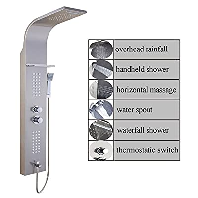 ELLO&ALLO Stainless Steel Shower Panel Tower System,LED Rainfall Waterfall Shower Head 6-Function Faucet Rain Massage System with Body Jets Brushed Nickel …
