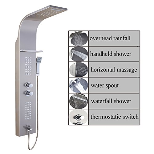 ELLOALLO Stainless Steel Shower Panel Tower SystemLED Rainfall