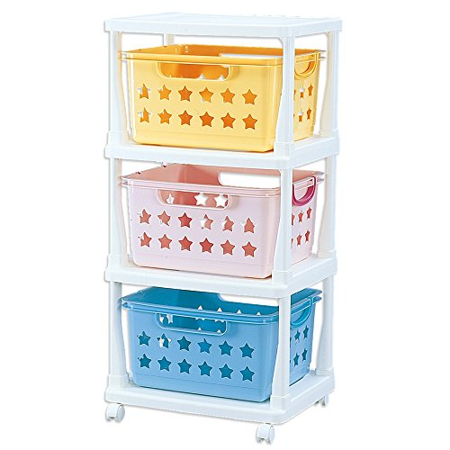 Kids Plastic 3-Tier Basket Wheeled Cart