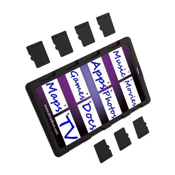 DiMeCard micro8 microSD Memory Card Holder (Ultra thin credit card size holder, writable label) 2 Ultra-slim design - 1/10th inch thin, credit card size for wallet (thinnest in the world!) Writable panels to note memory card contents Ideal companion for camera phones, smart phones & tablet PC's
